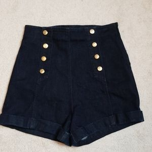 Guess high rise dark wash shorts with gold buttons